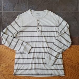 Old Navy Henley Large Cream Striped